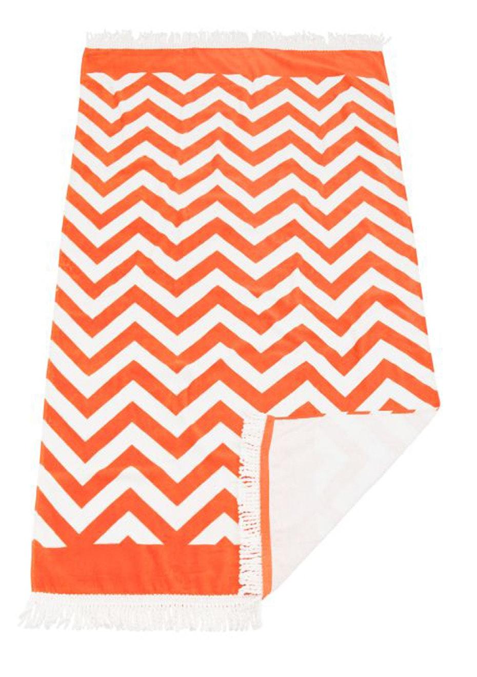 Zig Zag Beach Towel Orange With Fringe