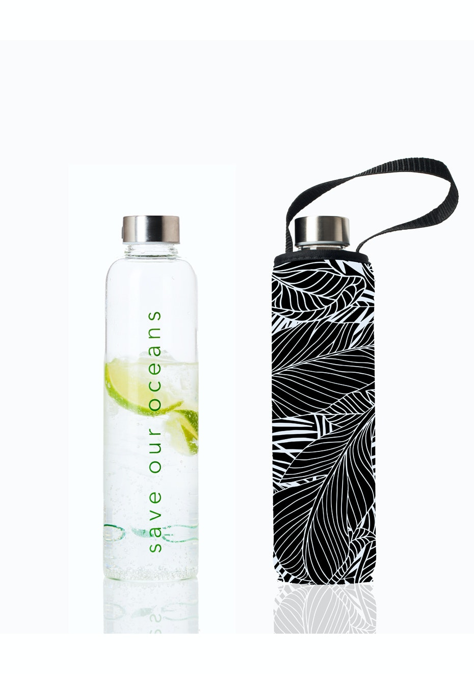 BBBYO - Glass Is Greener Bottle 750 ml + Carry Cover (Black Leaf Print) -750 ml
