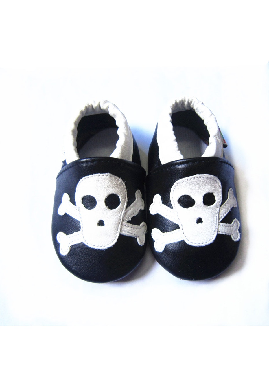Baby Soft Sole Leather Shoes - Black/Skull
