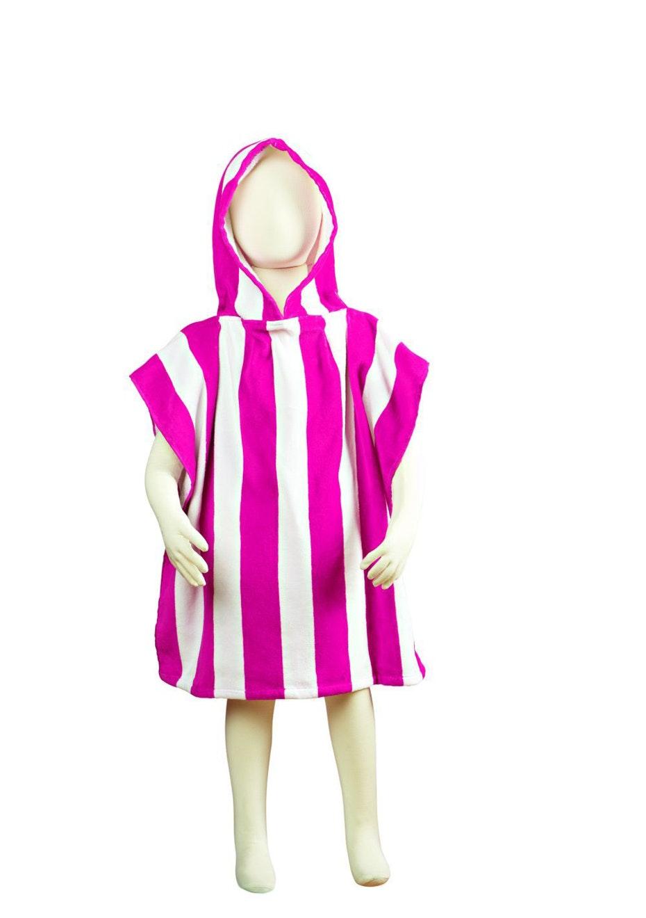 Fun Stripe Hooded Poncho Pink