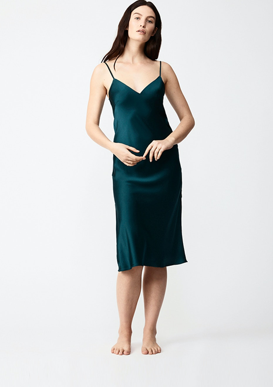 NATALIJA - Silk Slip Dress - Emerald