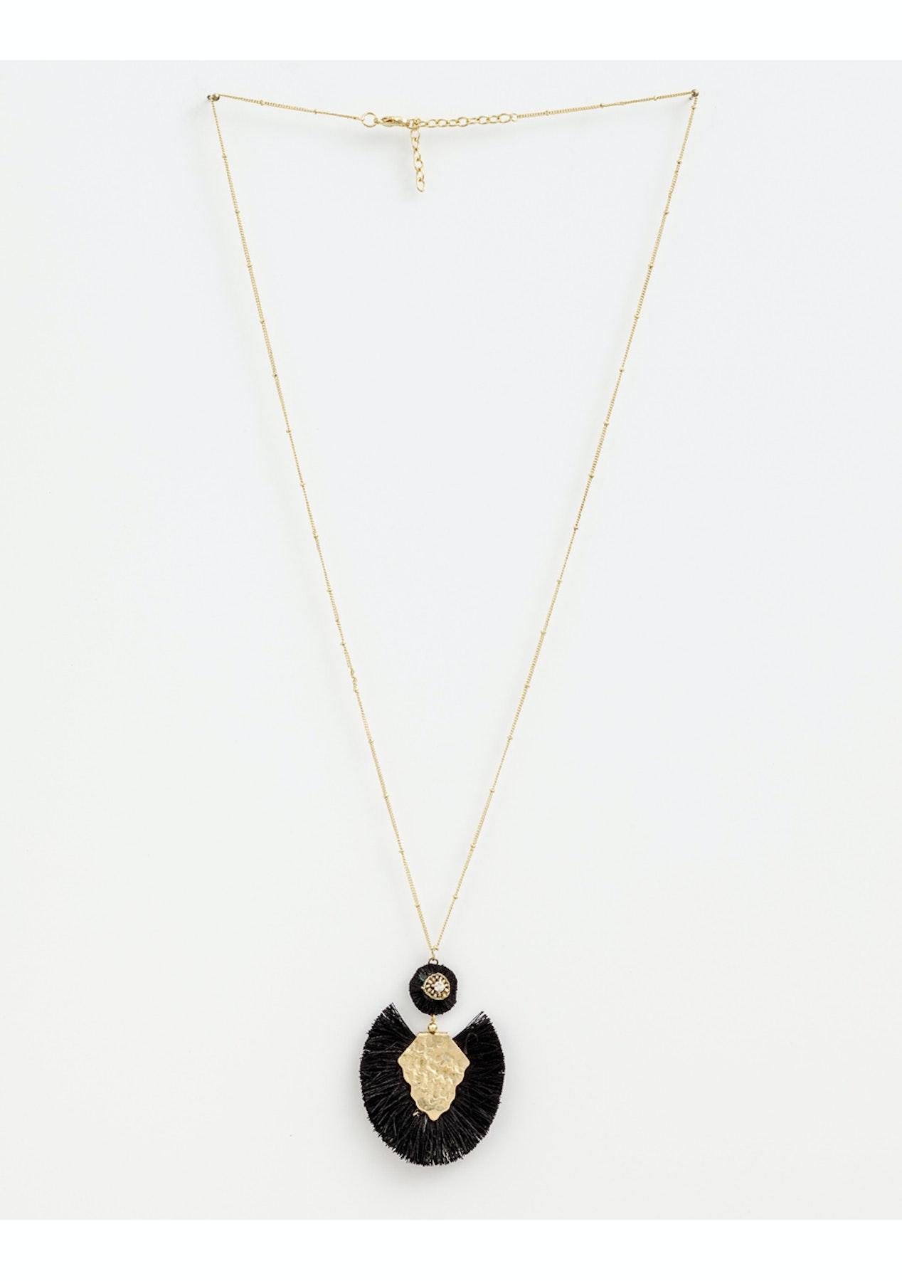 3fd43f1b3683 Stella + Gemma - Necklace Leather Fringe Black Gold - Boxing Day Stella +  Gemma Under  20 Sale! - Onceit
