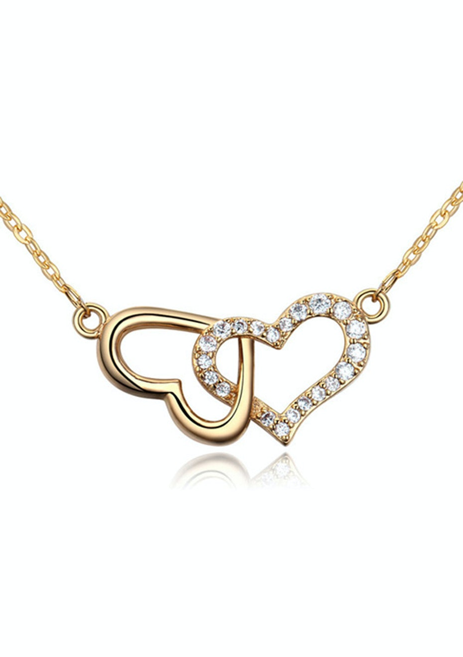 Linked Heart Pendant Necklace Embellished with Crystals from Swarovski -G