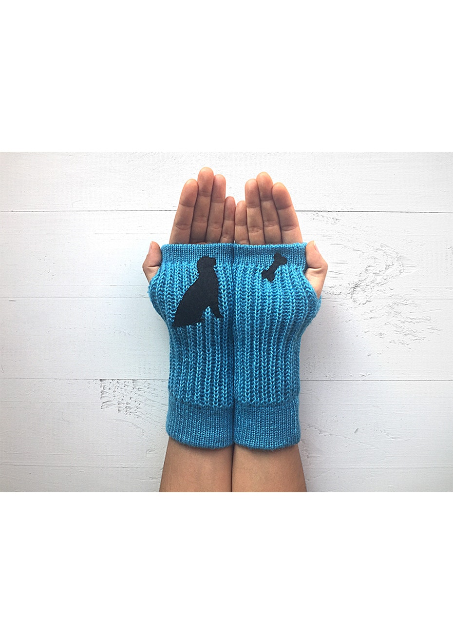 Dog & Bone Armwarmers - Blue/Black