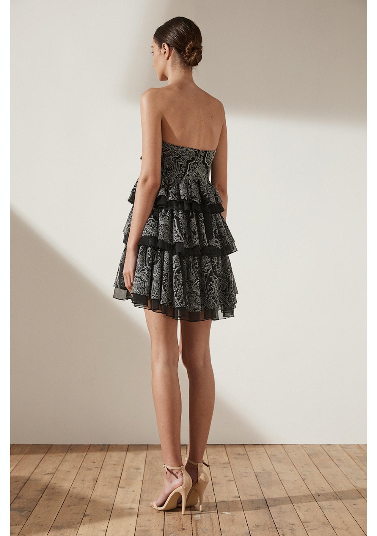 8e476567980e Shona Joy - Uccello Tie Front Tiered Mini Dress - Black - New Season Shona  Joy - Onceit