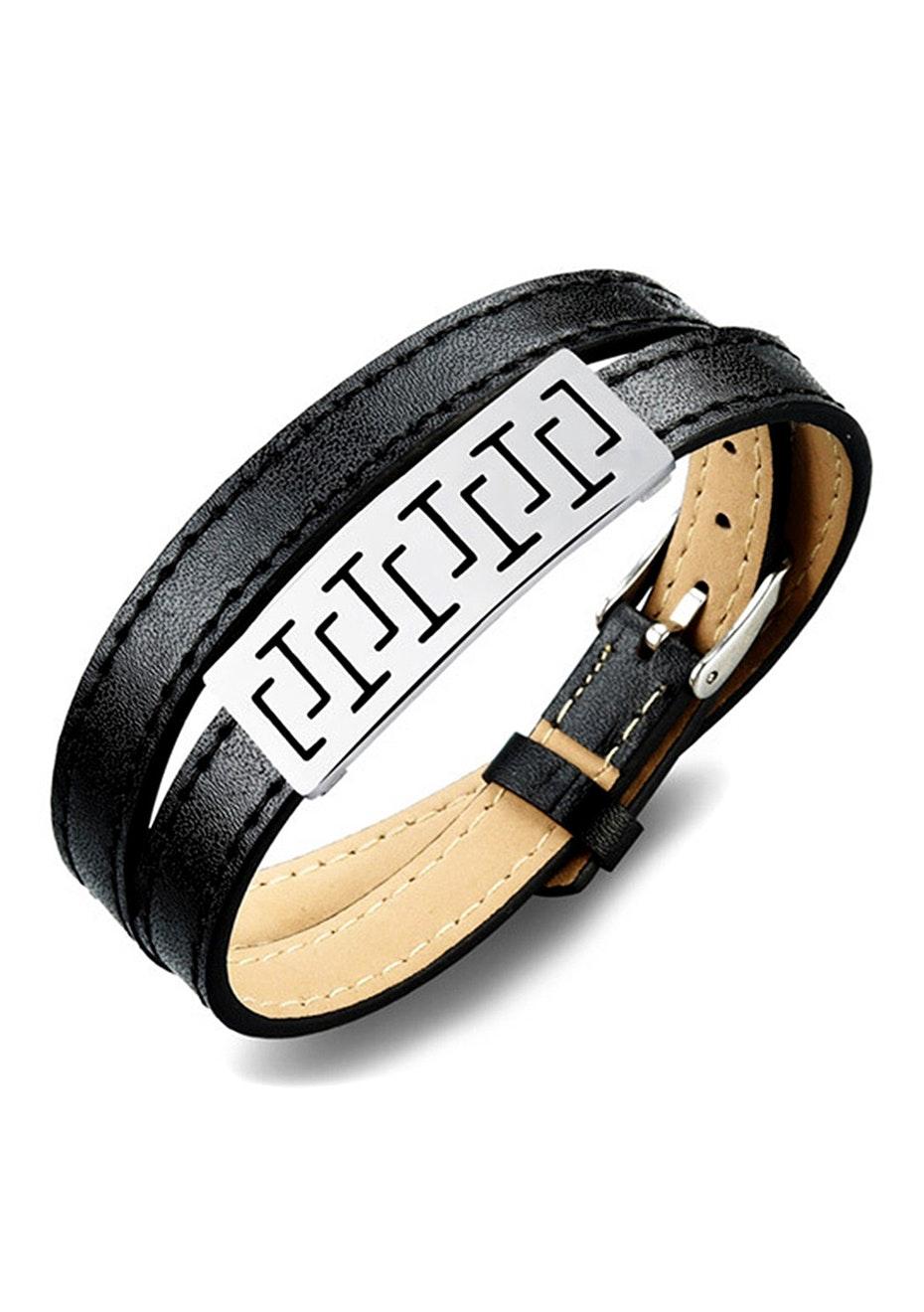 Genuine Leather Wrap Bracelet | Black