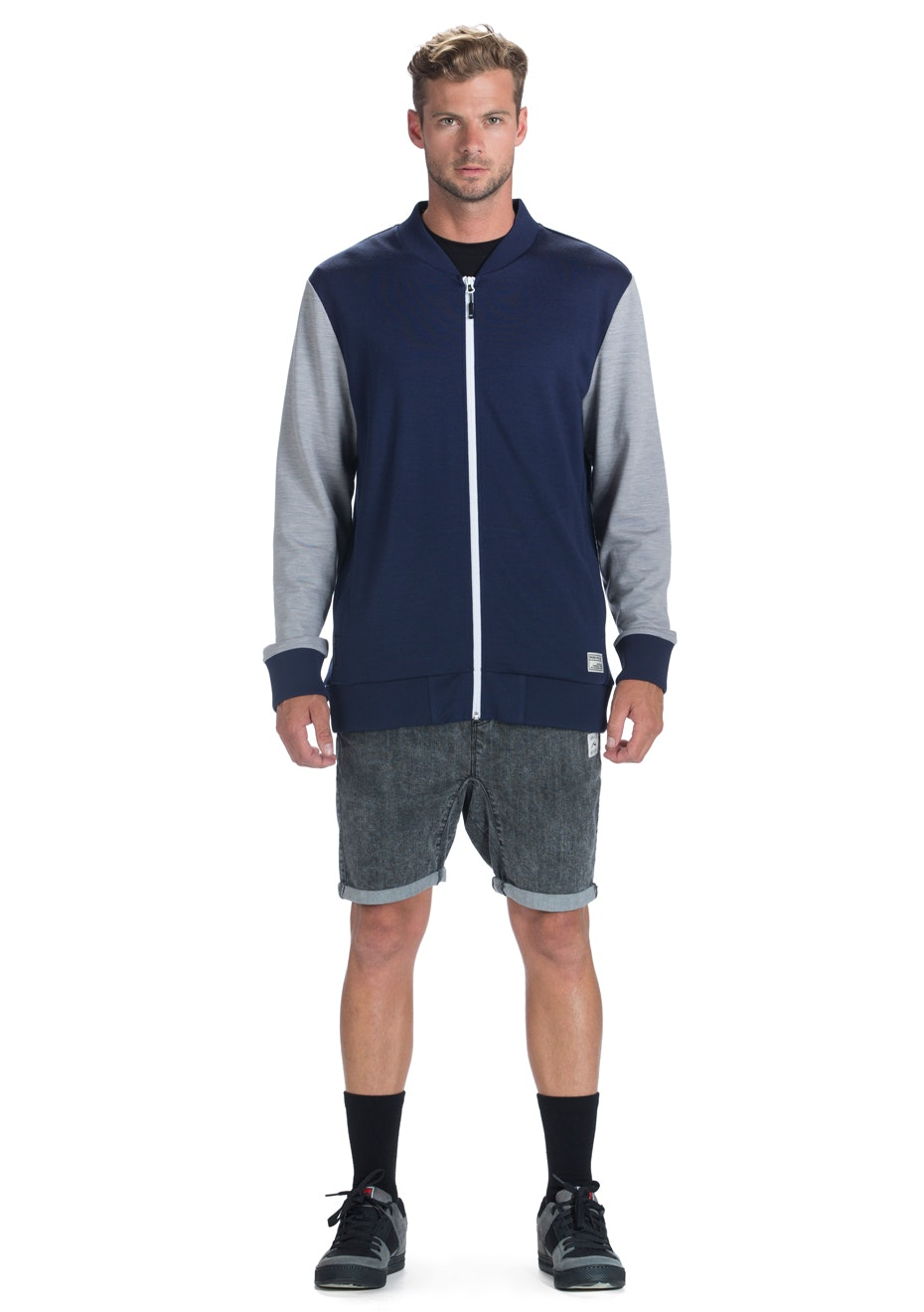 Mons Royale - Mens Bomber Navy / Grey Marl