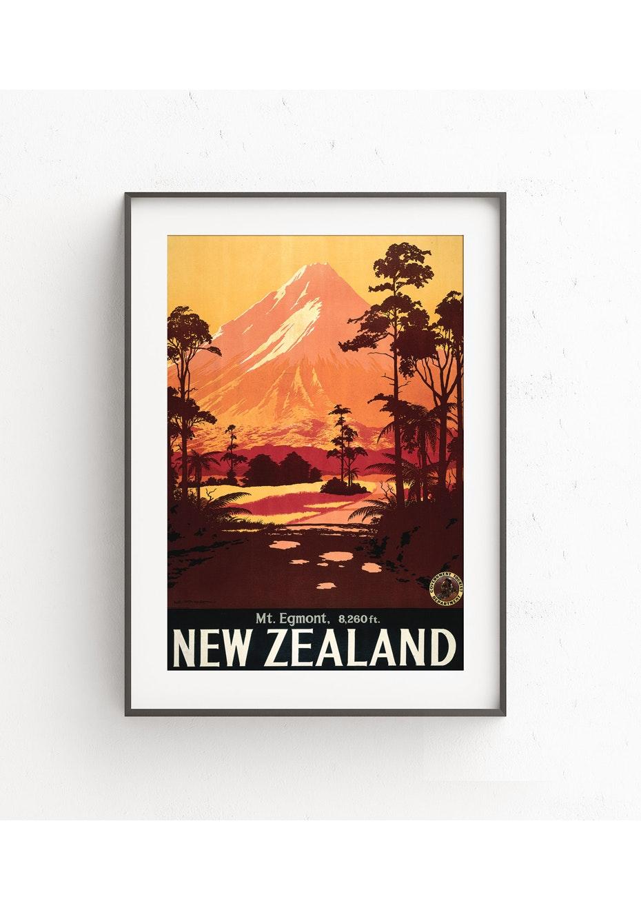 Mt Egmont Vintage Tourist Print - A2