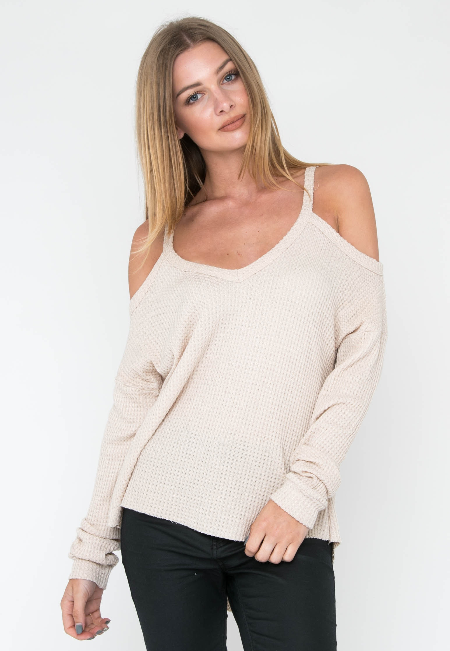 Waffle Knit Cold Shoulder Top - Taupe