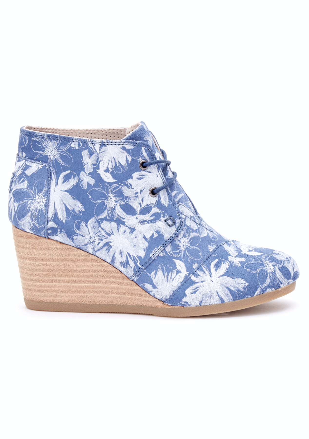 4573c9acc137 Toms - Desert Wedge - Blue Suede Floral - Toms Shoes - Onceit
