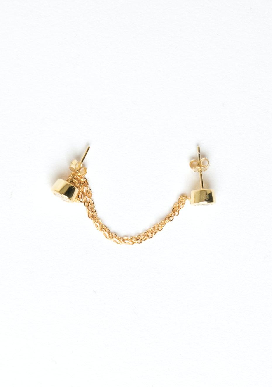 Dia Chain Drop Cuff - Gold Plated