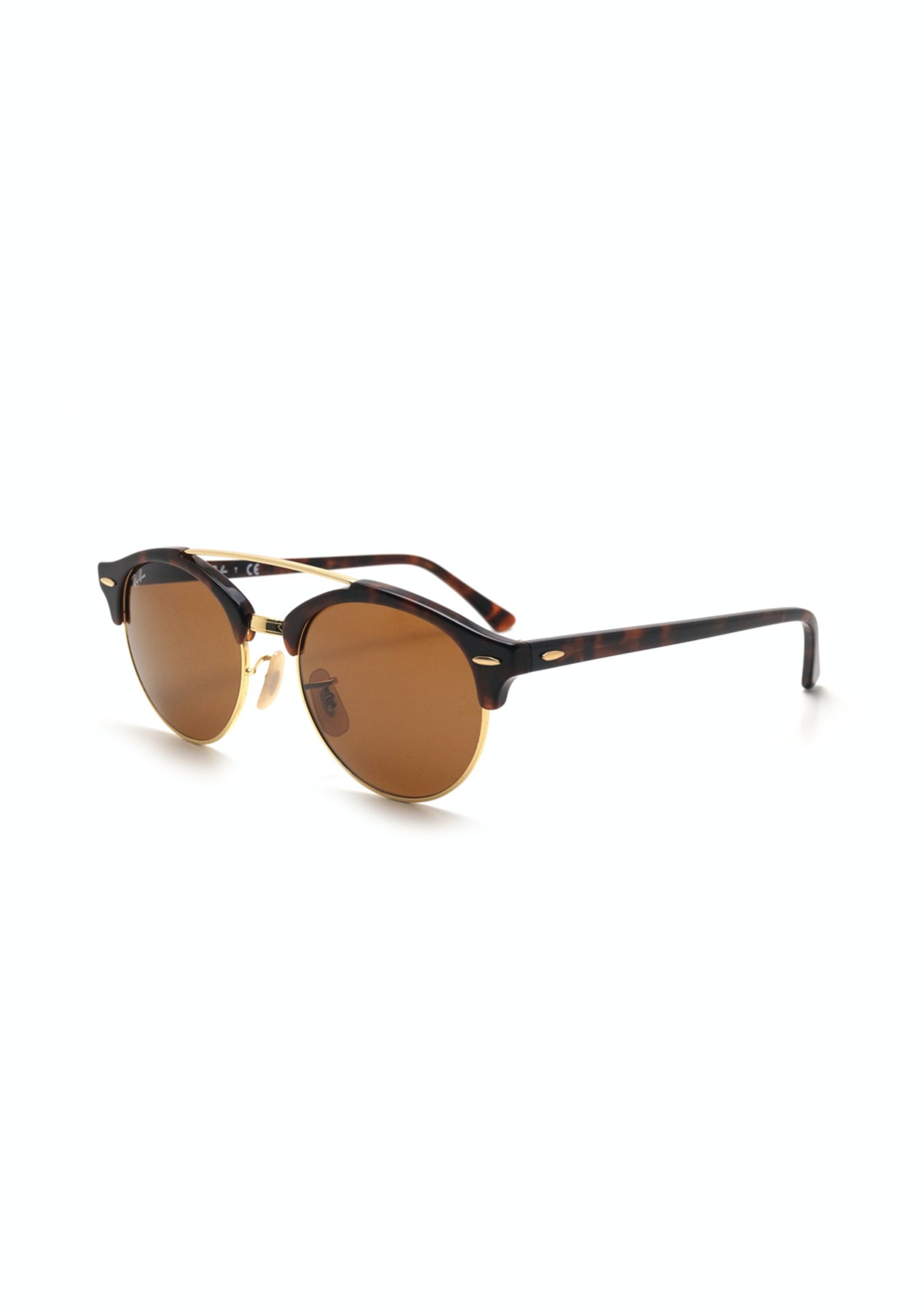 37bd2ad302 Ray-Ban Clubround Double Bridge Tortoise Brown Sunglasses - Ray Ban   More  - Onceit