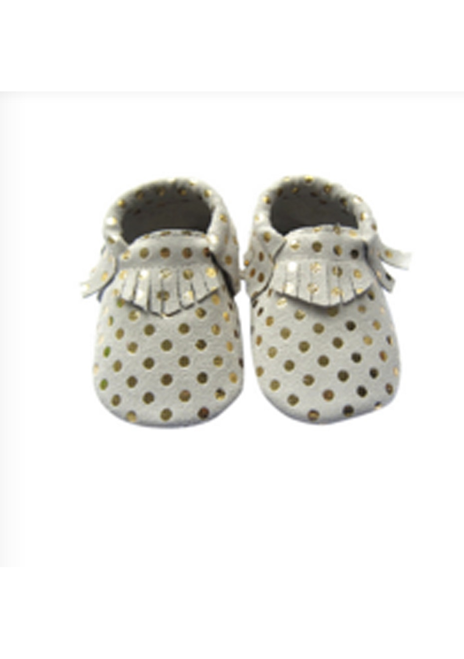 Baby  Leather Shoes - Beige/Gold Dot