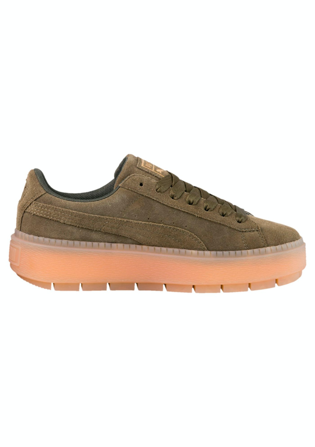 239e2598a5e Puma Womens - Suede Platform Trace - Olive - The Big Warehouse Clearout -  Onceit