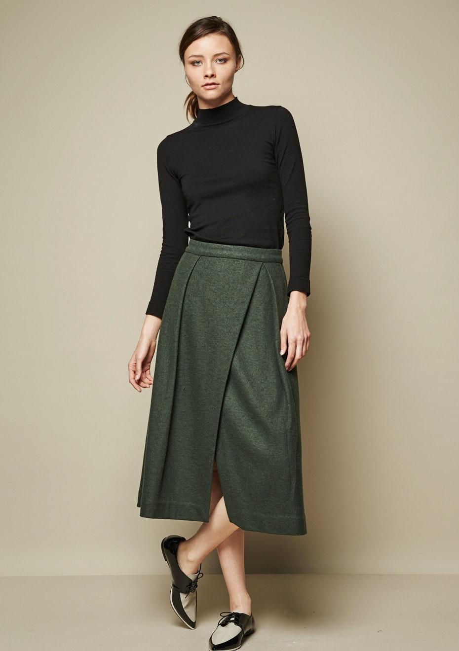 Achro - Overlapped Midi Skirt - Green