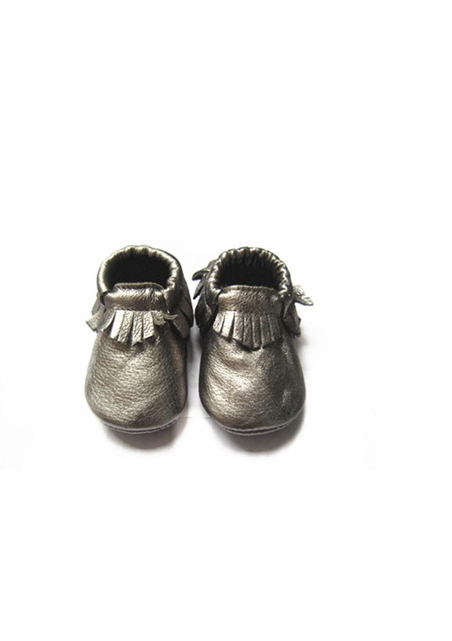 Baby  Leather Shoes - Metallic Grey