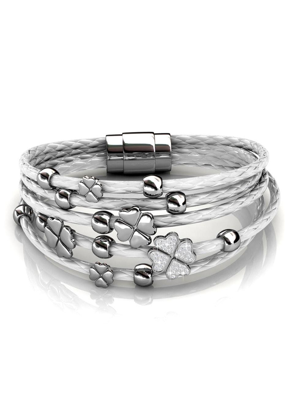 Clover Bracelet Ft Swarovski Elements -WG