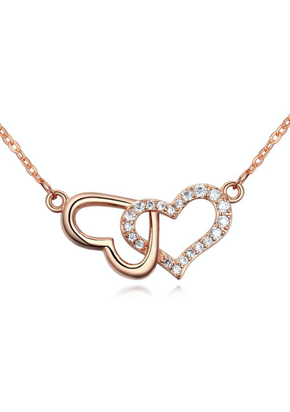 Linked Heart Pendant Necklace Embellished with Crystals from Swarovski -RG