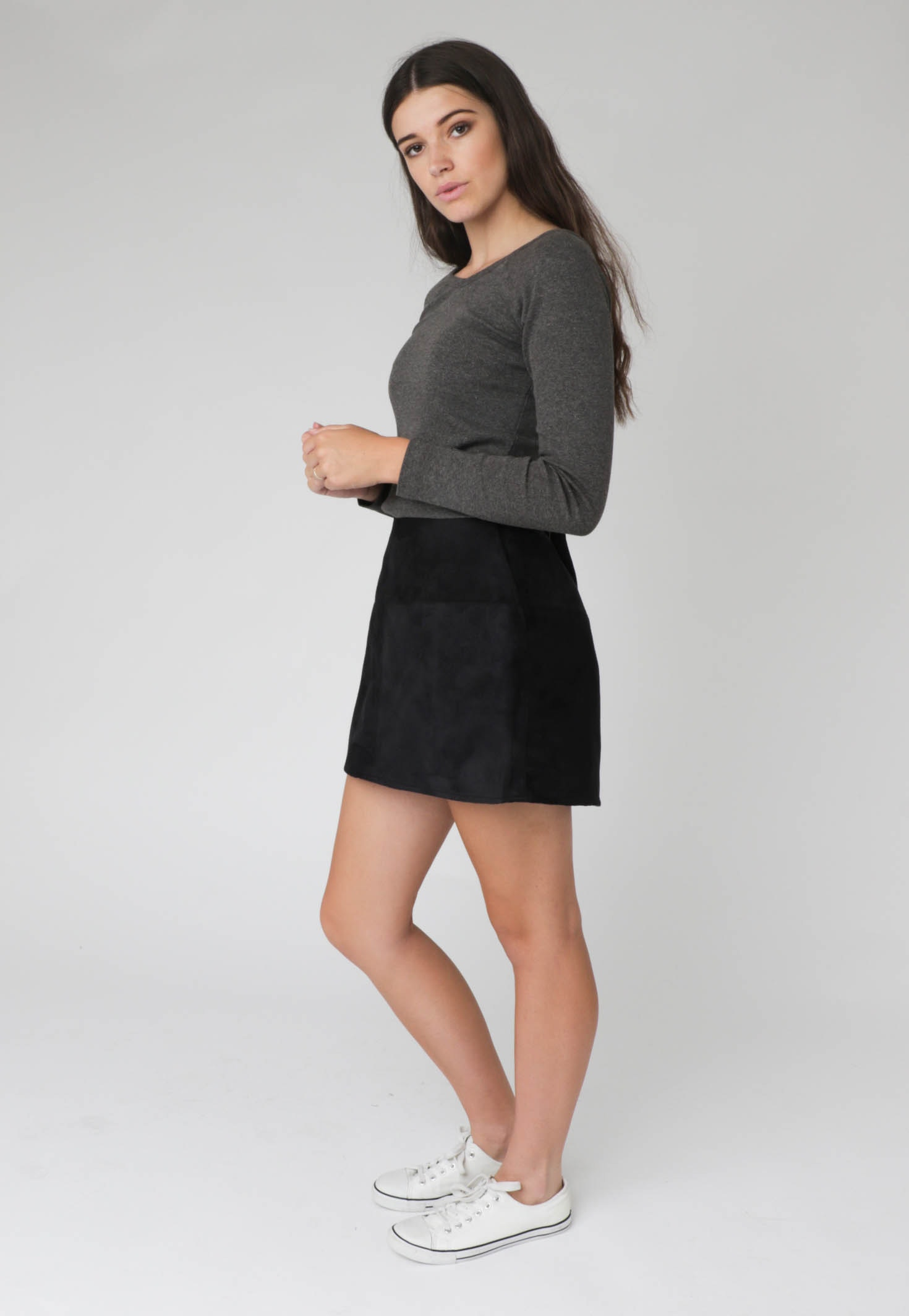 All About Eve - Struck Gold Suede Skirt - Black