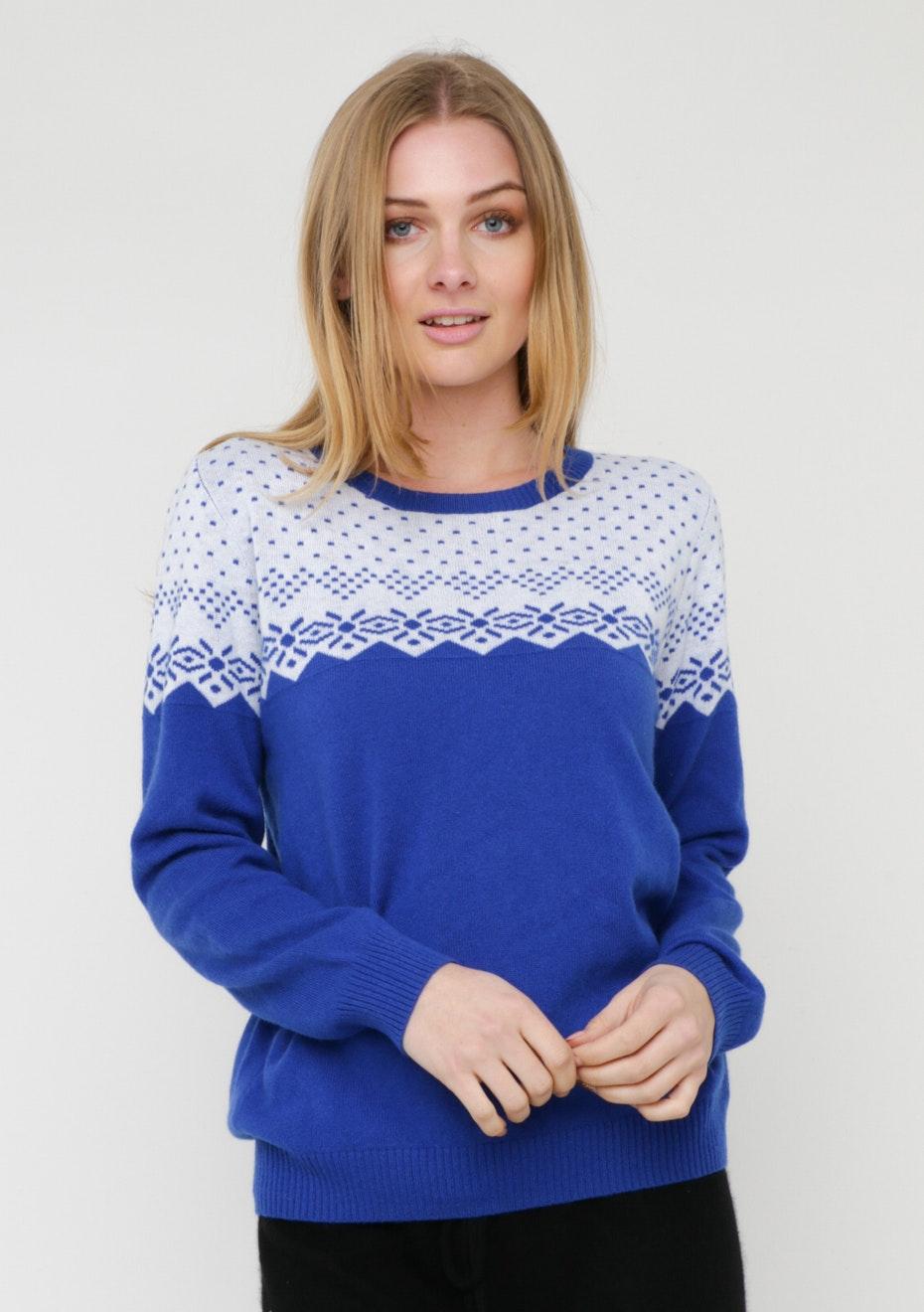 Printed Pure Cashmere Top - BLUE / WHITE PRINT