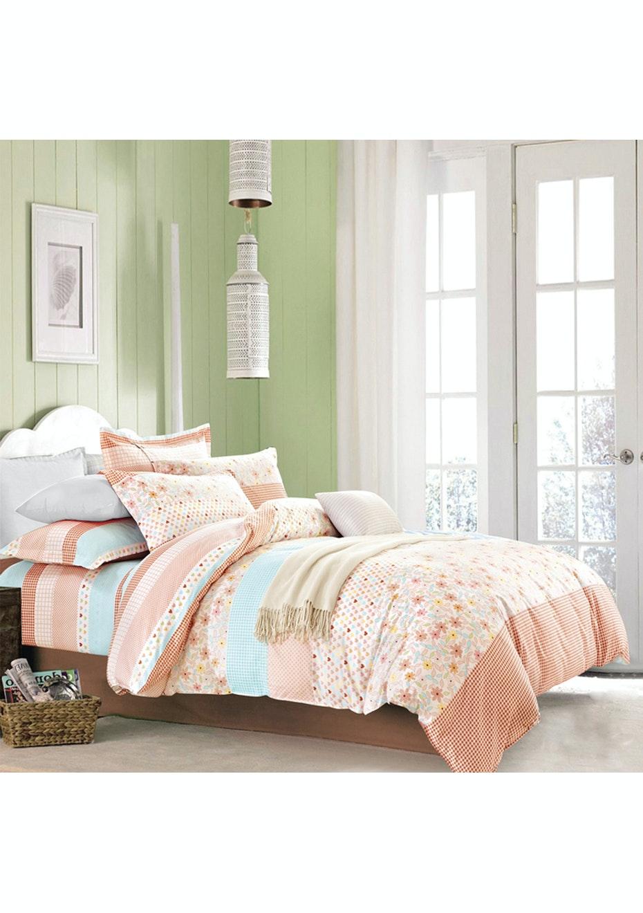 Emma Quilt Cover Set - Reversible Design - 100% Cotton - Double Bed