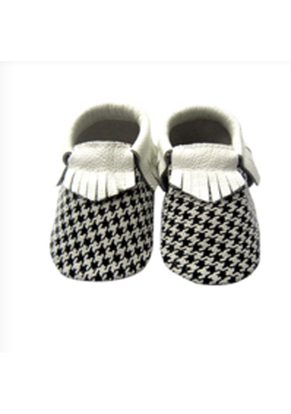 Baby  Leather Shoes - Cream/Houndstooth
