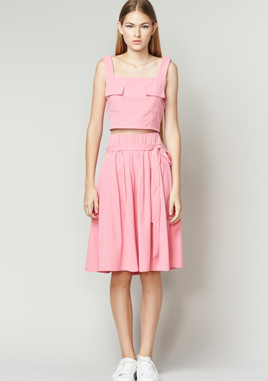 Achro - Pleated Skirt With Belt - Pink