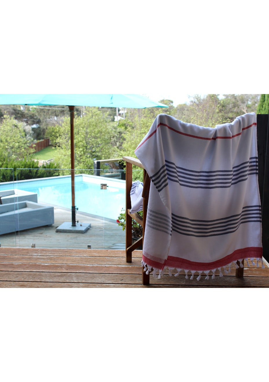 Sail Navy & Red Terry Turkish Towel