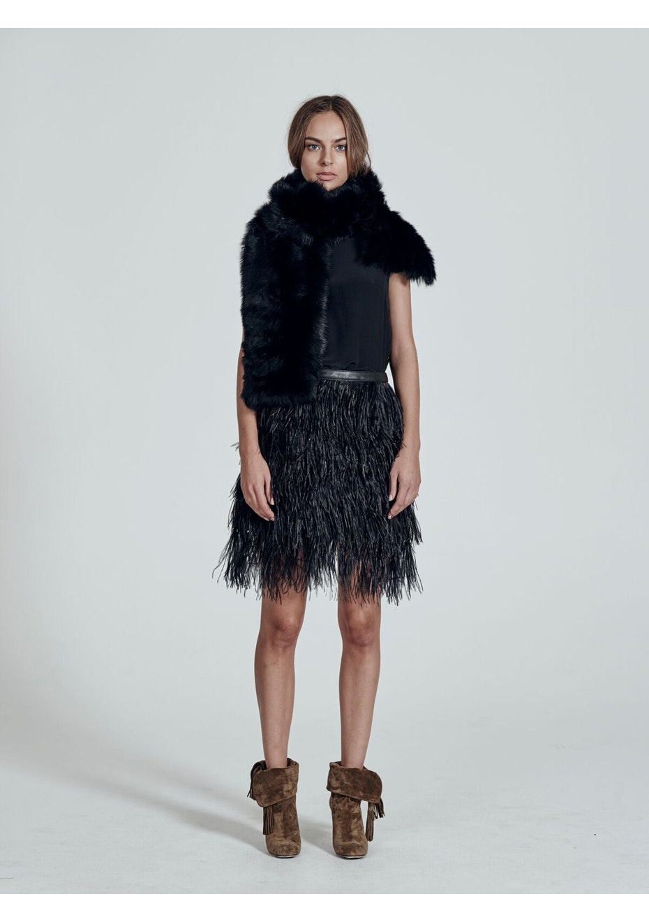West 14th - Yvette Skirt With Ostrich Feather  - Black / Black