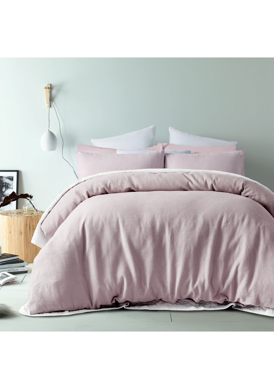 Blush Waffle Linen Cotton Quilt Cover Set- King Bed