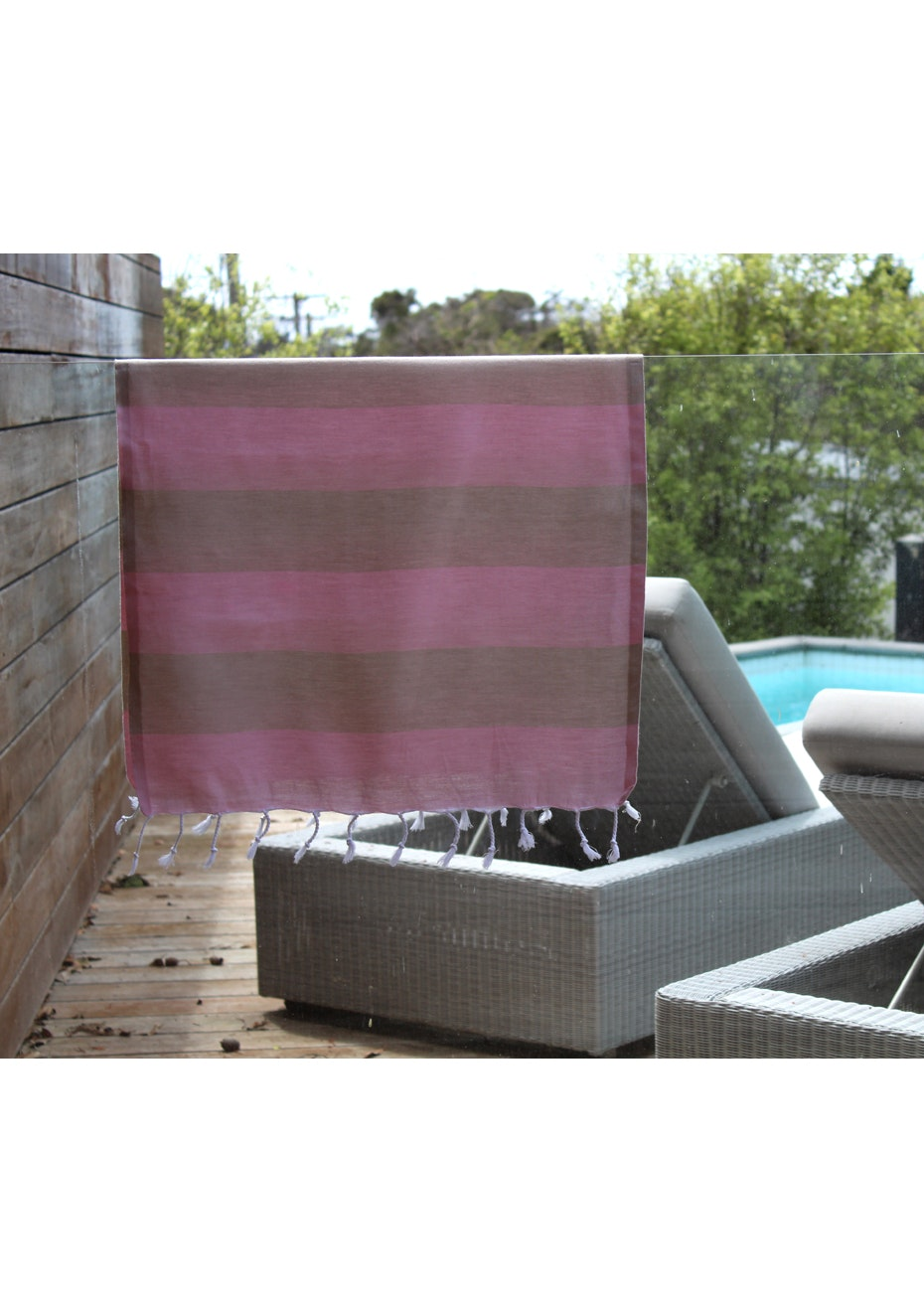 Tenedos Dusty Pink & Beige Small Turkish Towel