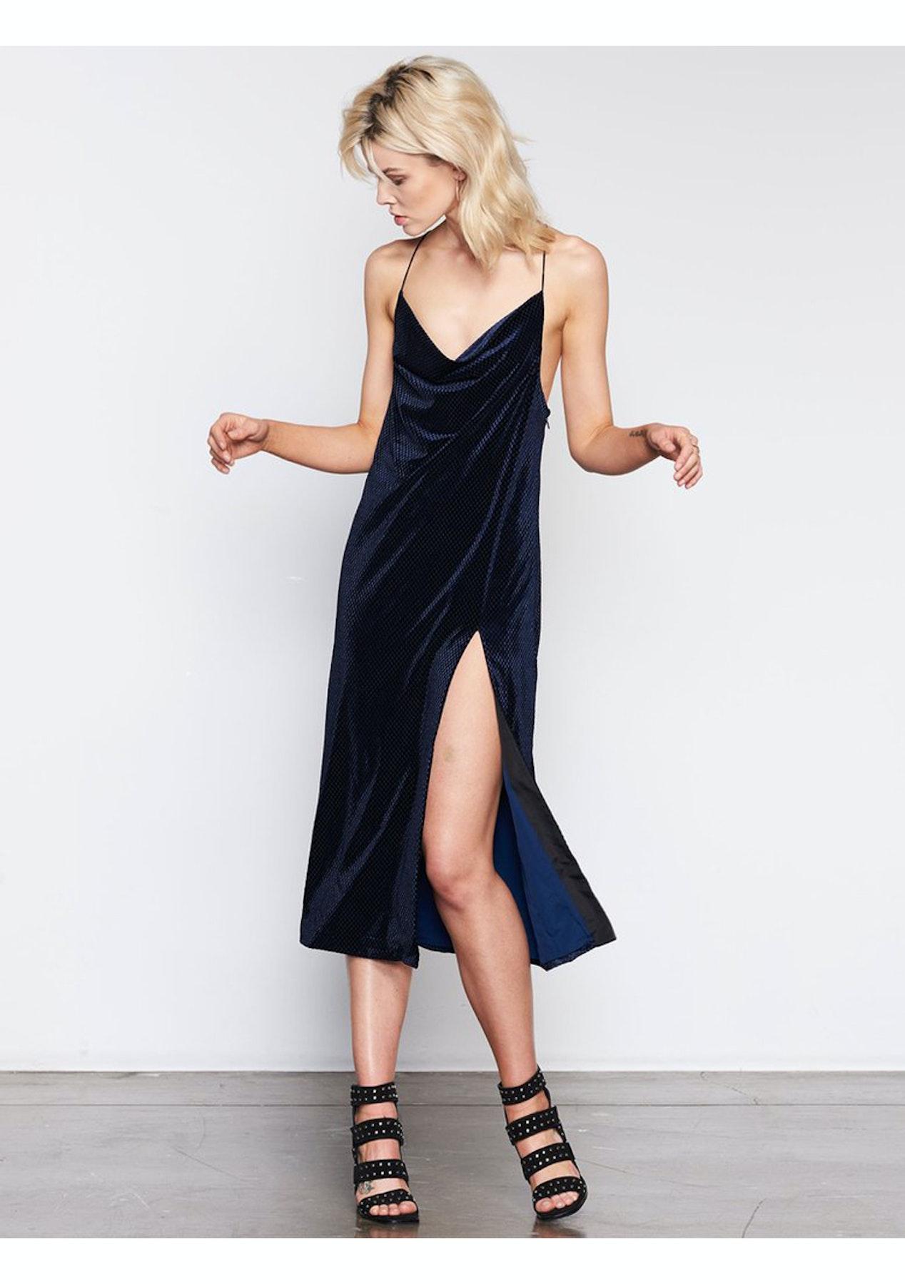3e3c7be729 ISLA - Celestial Dress - Blue Velvet - Free Shipping Shona Joy & Isla -  Onceit