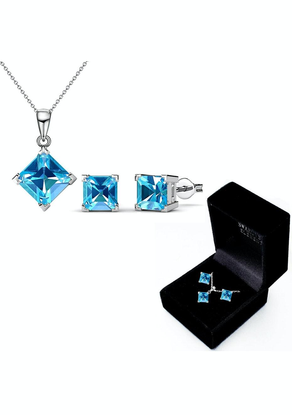 Boxed Matching Set Ft Swarovski Elements - Light Blue