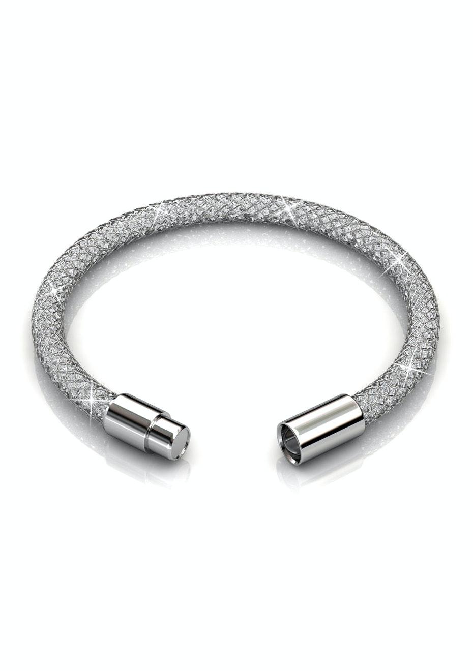 Mesh Single Wrap Bracelet Ft Swarovski Elements-WhtGld