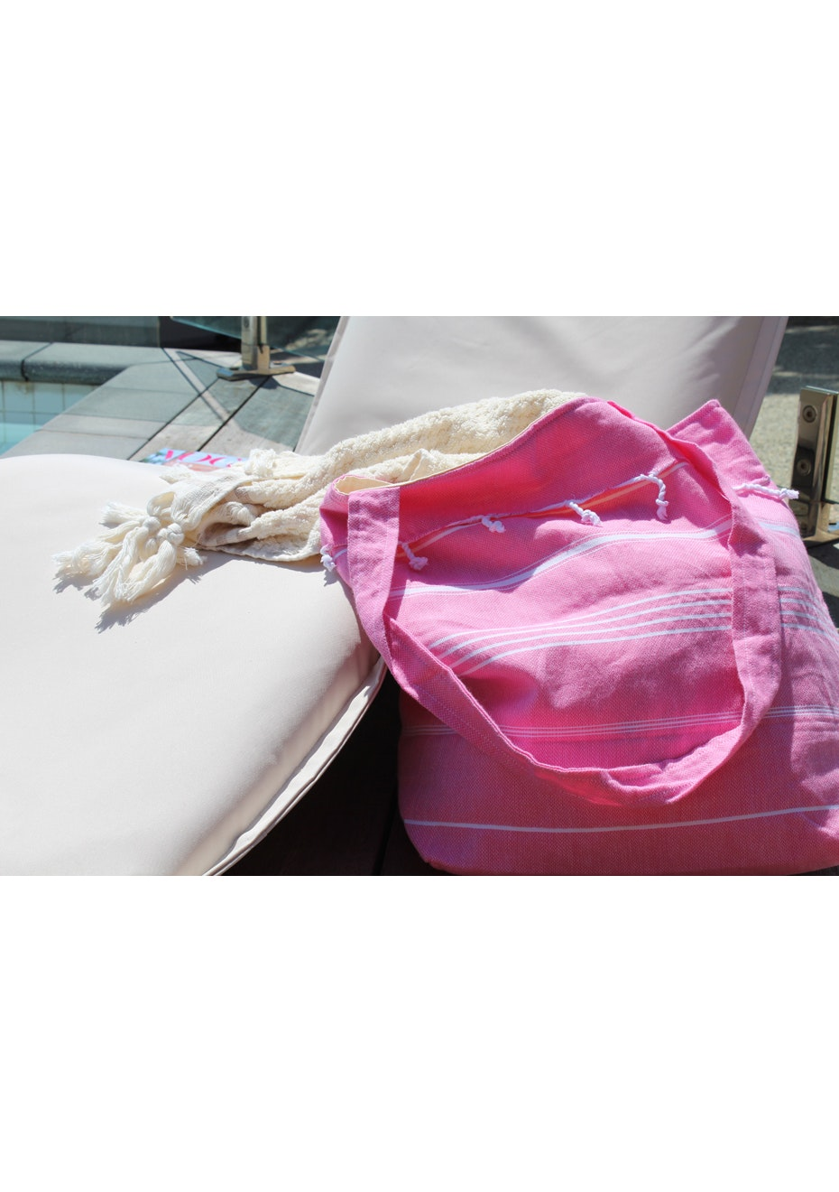 De La Mer Hot Pink Beach Bag