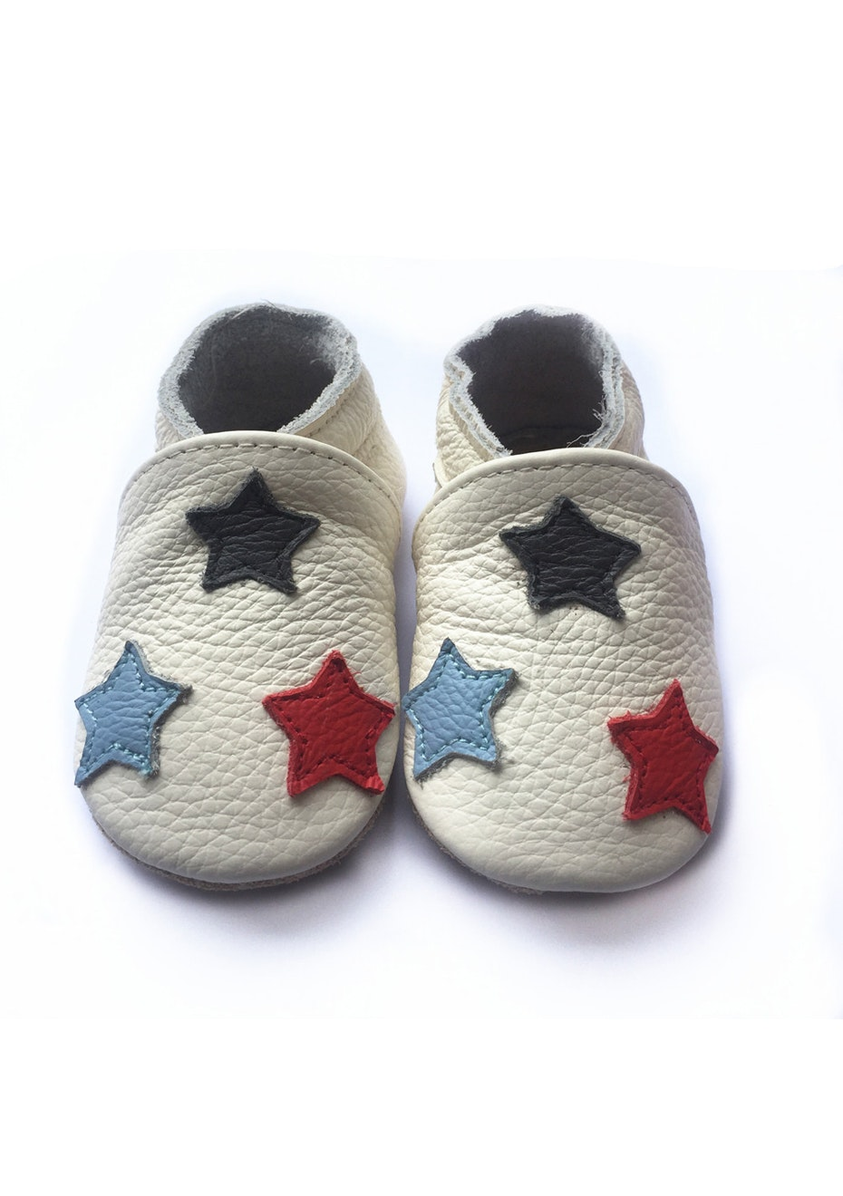 Baby  Leather Shoes - Cream / Star