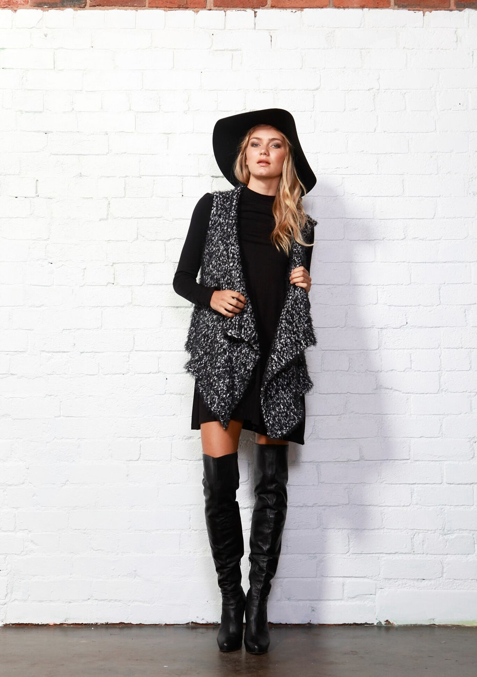 Sass - Nadia Knit Vest - Black White Speckle