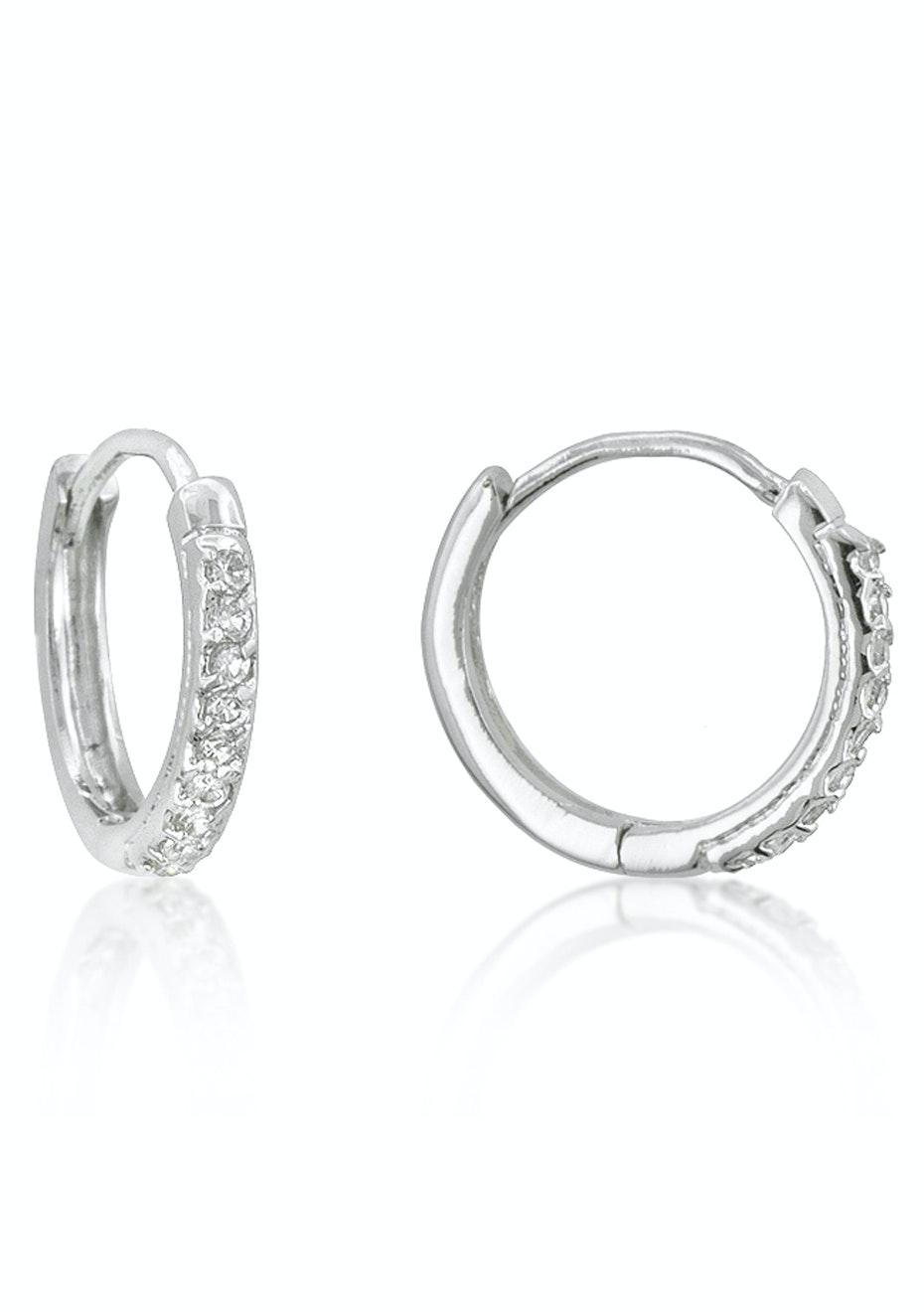 Hoop Encrusted Earrings w White Gold