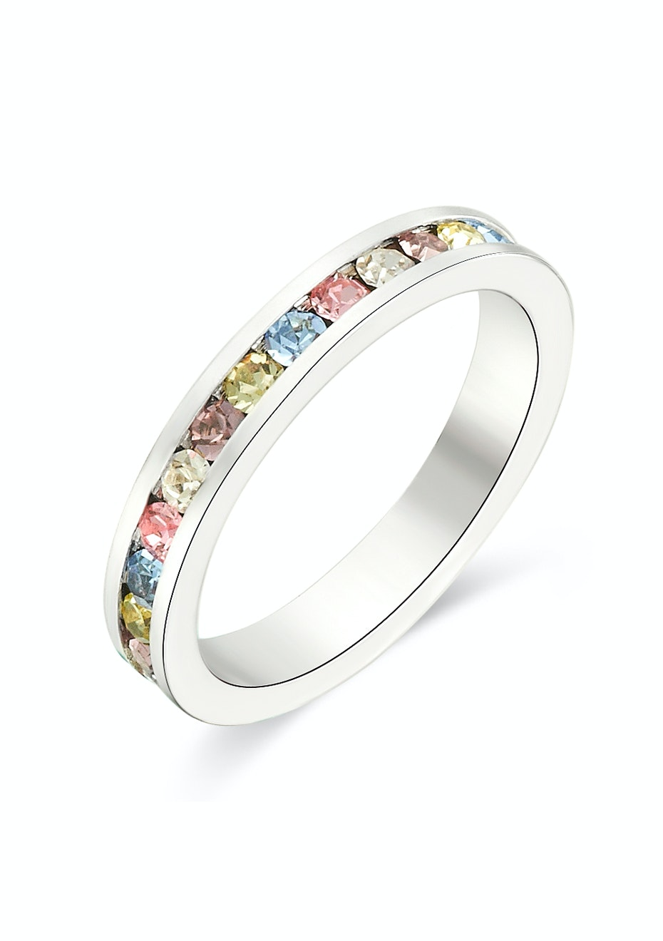 Stackable Ring -White Gold w Multicolour Embellished with Crystals from Swarovski