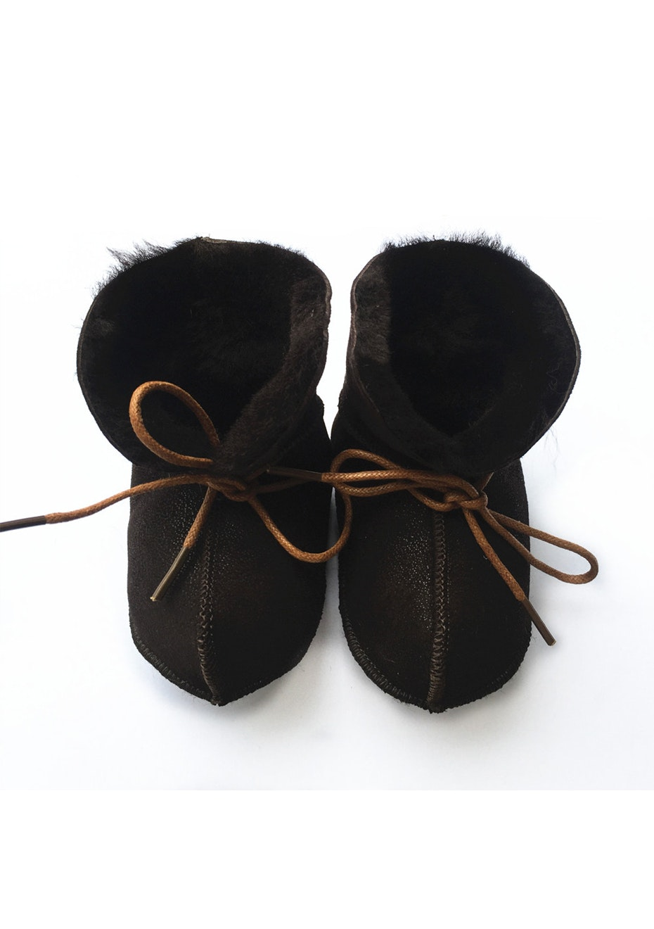 Baby  Leather Shoes - Brown / Black Fur