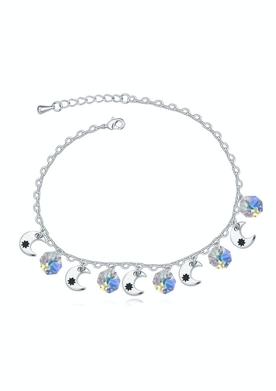 Moon Anklet Embellished with Crystals from Swarovski -WG