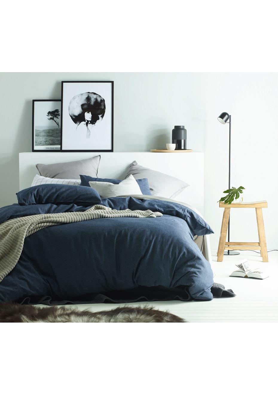 Vintage Design Homewares Dark Denim Linen Cotton Quilt Cover Set Single Bed New Vintage Design Bedding All Free Shipping Onceit