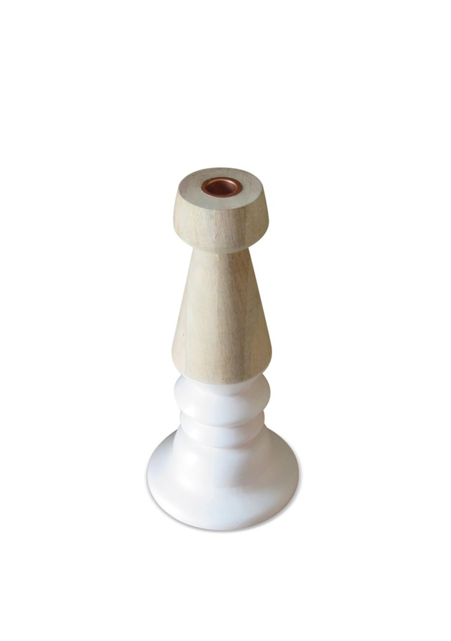 Me & My Trend - Medium White & Wood turned candle stick