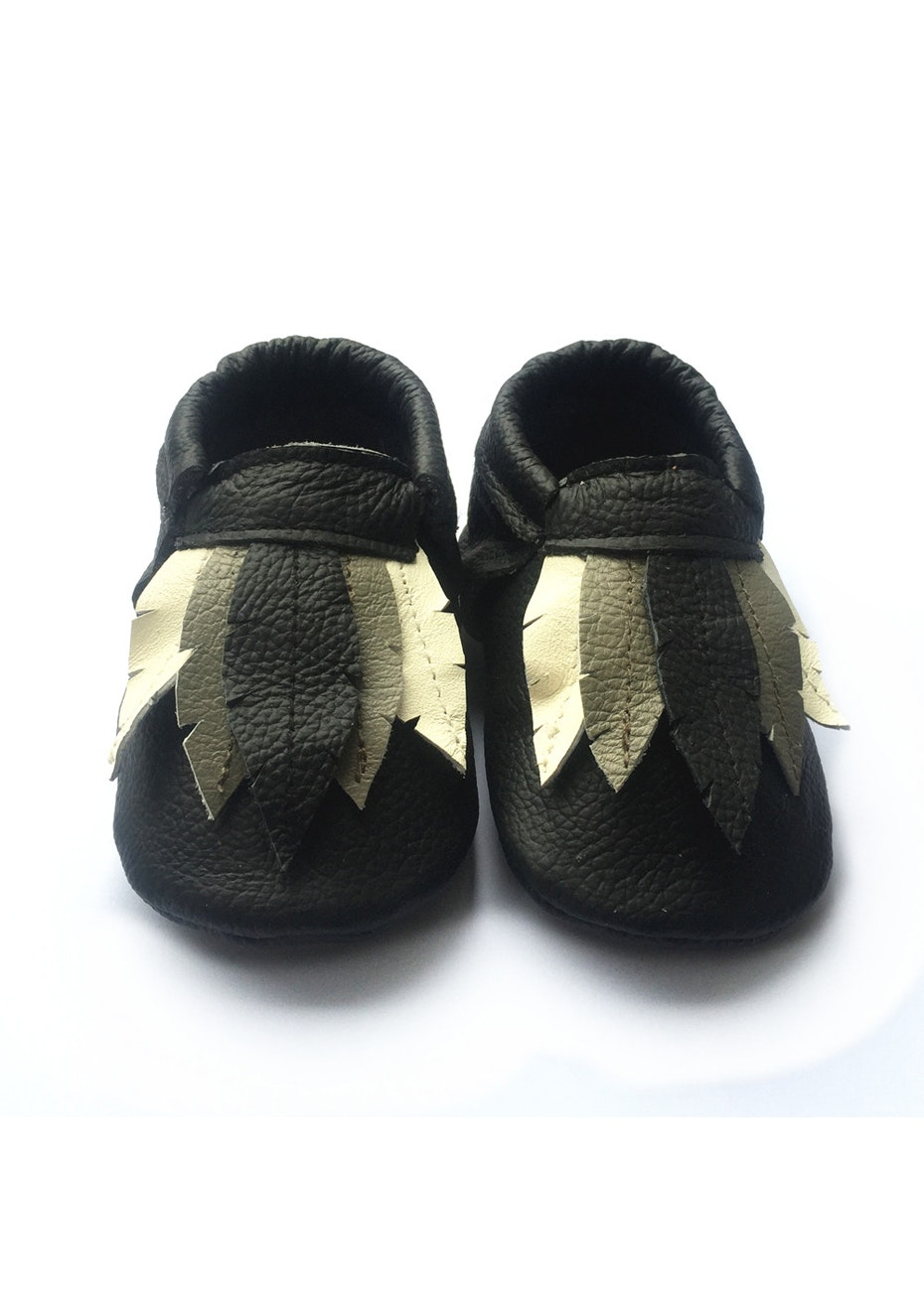 Baby  Leather Shoes - Black/Cream/Grey