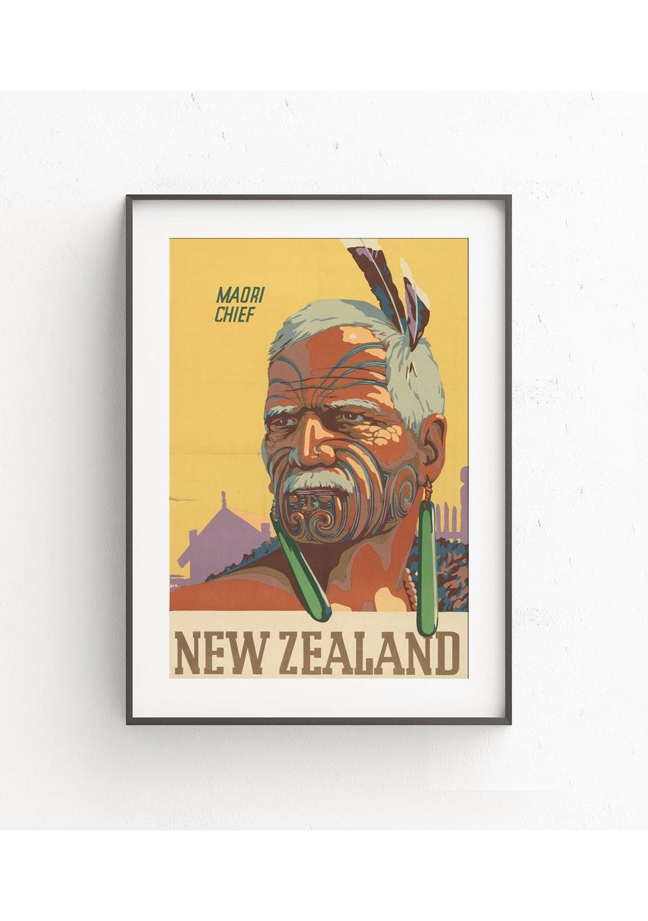 Maori Chief Vintage Tourist Print - A2