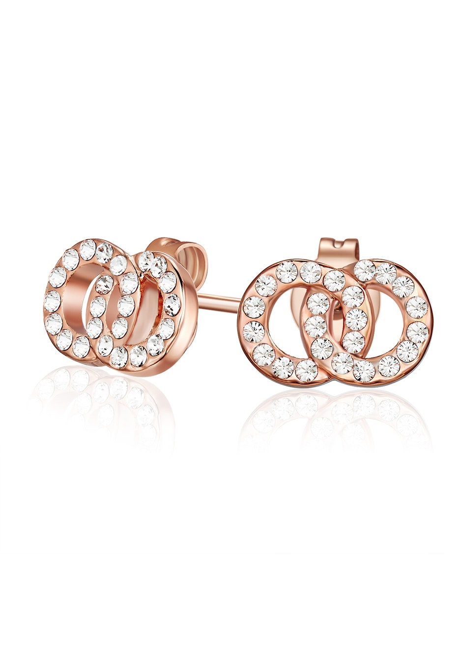 Interlinked Earrings Embellished with Crystals from Swarovski -Rose Gold