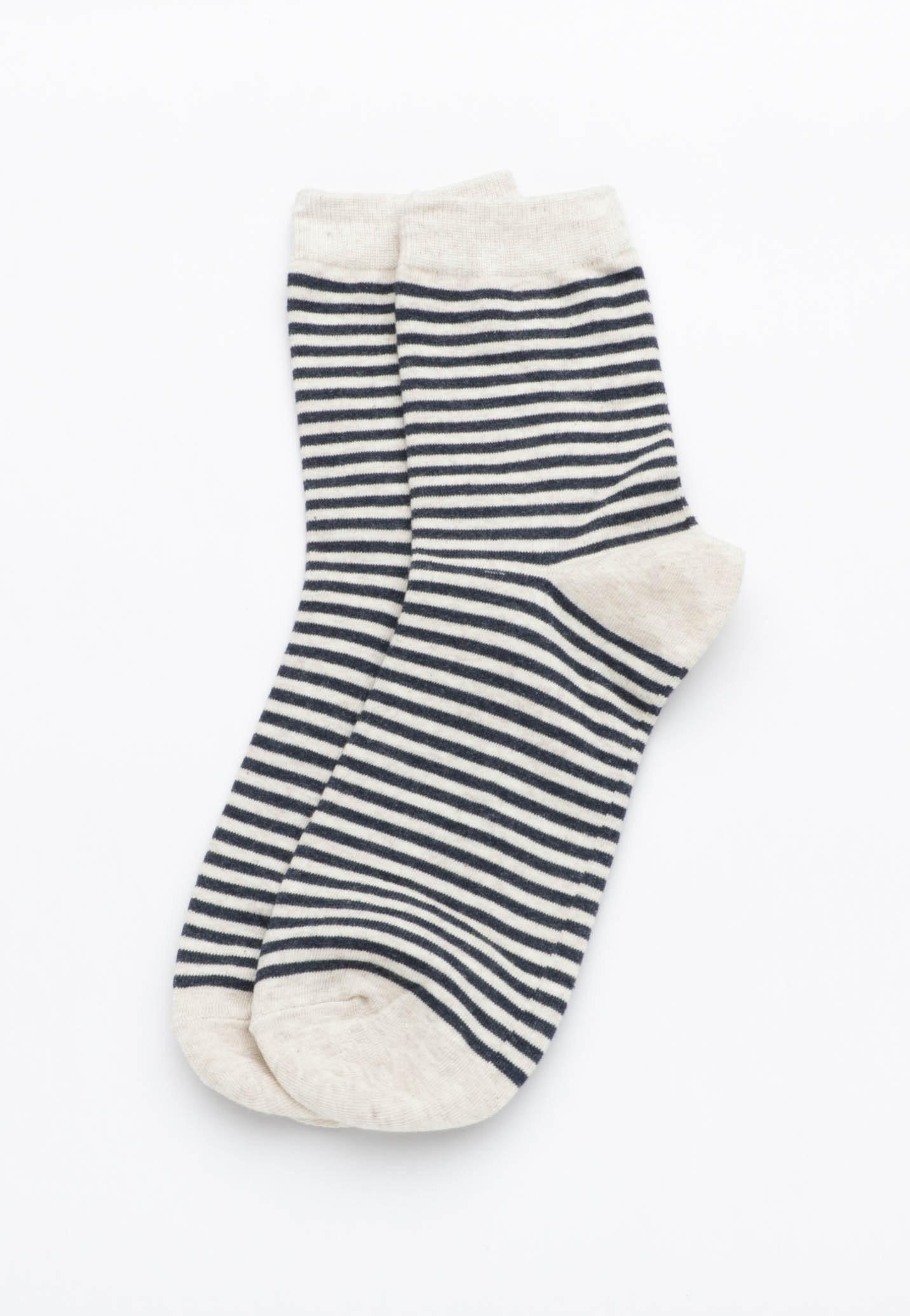 Stripey Socks - Oatmeal/ Navy