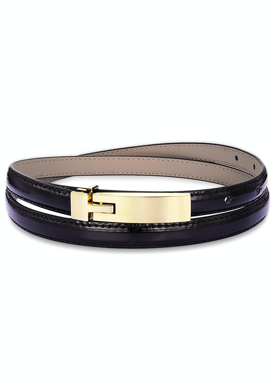 Genuine Cow Leather Skinny Waist Belt-Amelia black