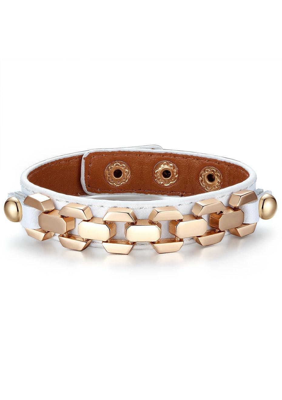 Genuine Cow Leather Link Bracelet -WHT