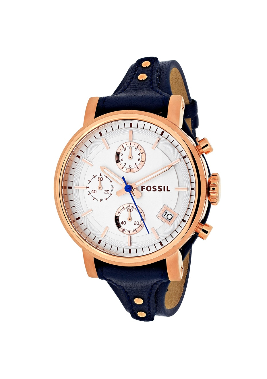 Fossil Women's Original Boyfriend - Silver/Navy blue